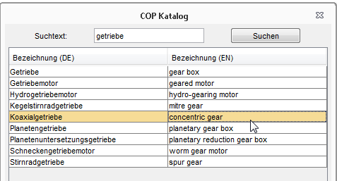 COP Katalog - Benennungskatalog - Erweiterung/Modul für Creo Elements/Direct Model Manager
